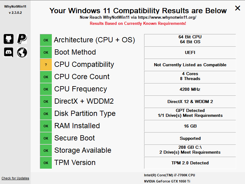 WhyNotWin11 - Windows 11 Compatibility Checking Tool – 06 ...